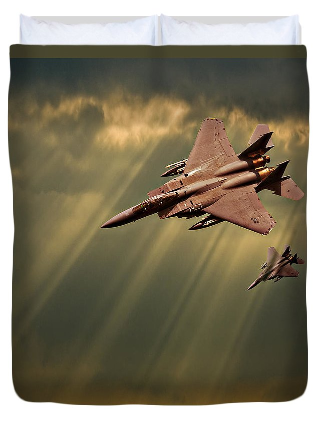 F-15. F-15 Eagle Duvet Cover featuring the photograph Diving Eagles by Meirion Matthias