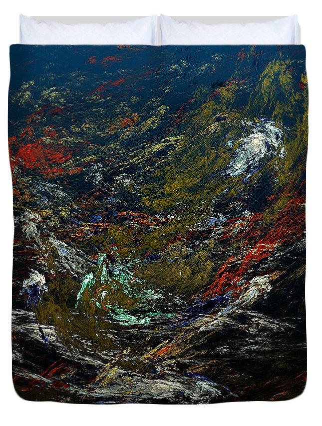 Fine Art Digital Art Duvet Cover featuring the digital art Diving The Reef Series - Sea Floor Abstract by David Lane
