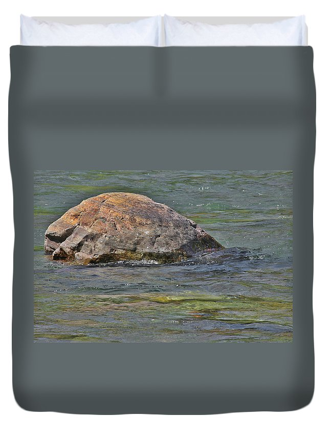 Stone Duvet Cover featuring the photograph Diving Turtle Rock - Flathead River Middle Fork Mt by Christine Till