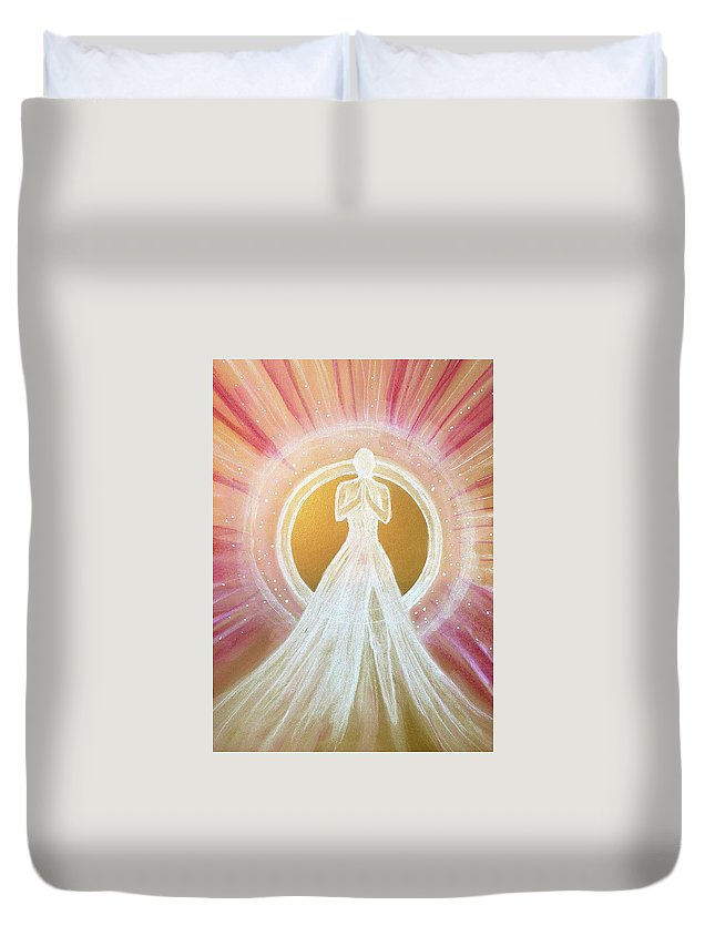 Light Being Duvet Cover featuring the pastel Divinity by Wendy Murphy