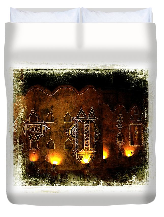 Diwali Duvet Cover featuring the photograph Diwali Lamps And Murals Blue City India Rajasthan 2b by Sue Jacobi