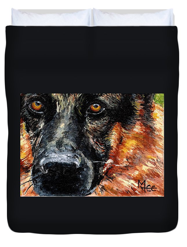 Charity Duvet Cover featuring the painting Dixie by Mary-Lee Sanders