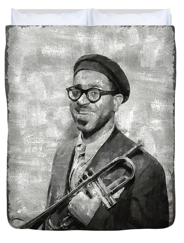 Dizzy Duvet Cover featuring the painting Dizzy Gillespie Vintage Jazz Musician by Mary Bassett