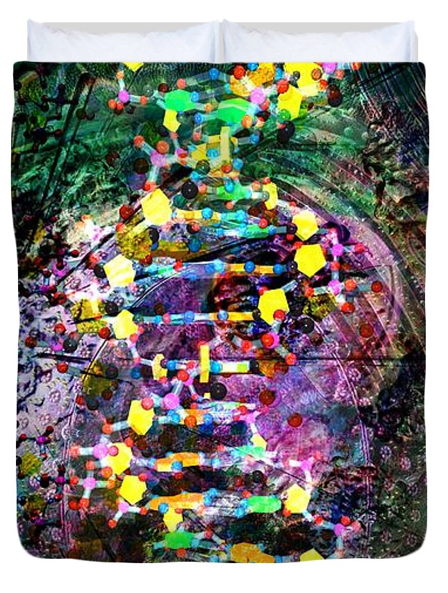 Abstract Duvet Cover featuring the digital art Dna Dreaming 7 by Russell Kightley