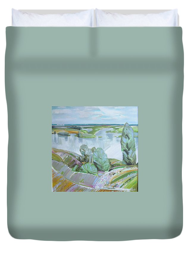 Landscape Duvet Cover featuring the painting Dnepro River by Sergey Ignatenko