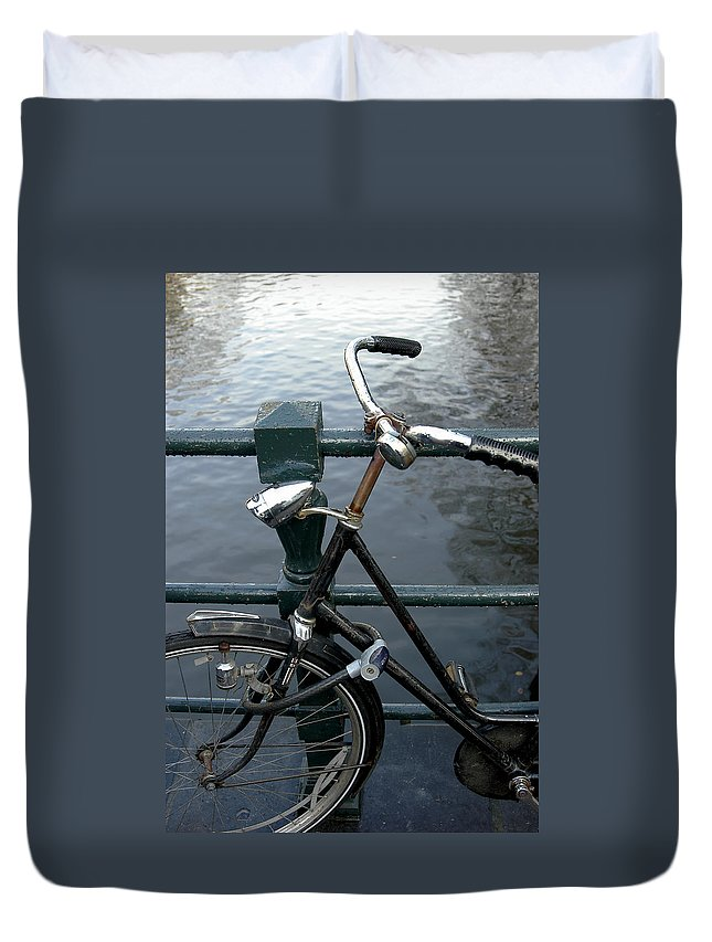 Landscape Amsterdam Red Light District Bicycle Duvet Cover featuring the photograph Dnrh1104 by Henry Butz