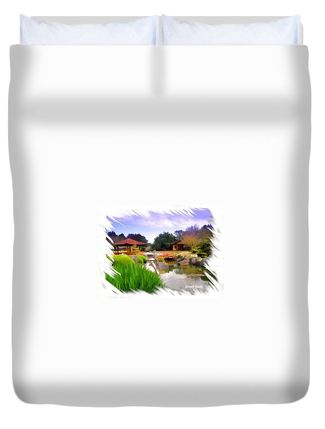 Japanese Gardens Duvet Cover featuring the photograph Do-00007 Japanese Gardens by Digital Oil