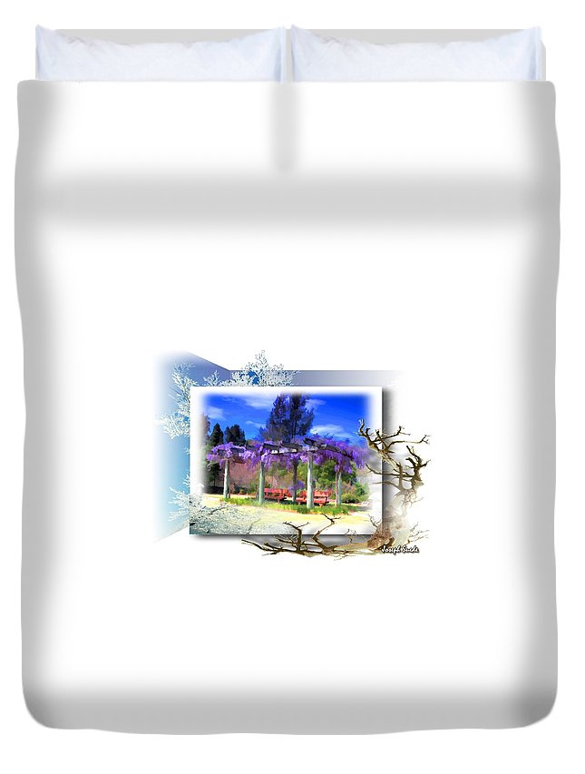 Wisteria Duvet Cover featuring the photograph Do-00013 Wisteria Branches by Digital Oil