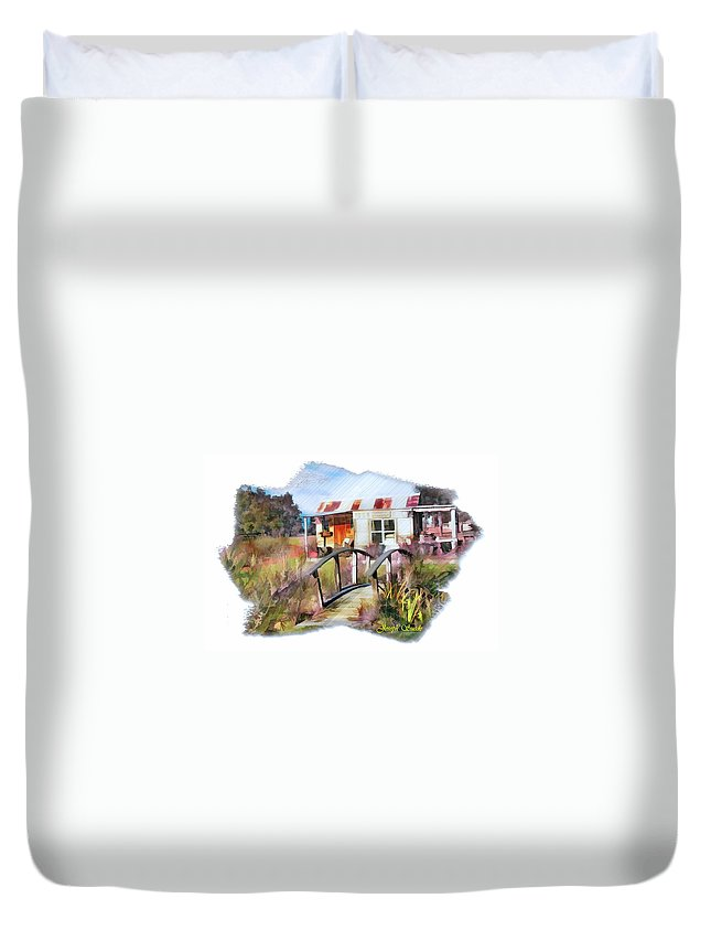 Bridge Duvet Cover featuring the photograph Do-00034 Bridge And Hutt by Digital Oil
