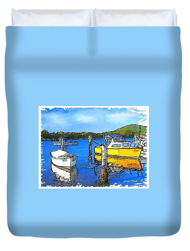 Boats Duvet Cover featuring the photograph Do-00147 Resting Boats by Digital Oil