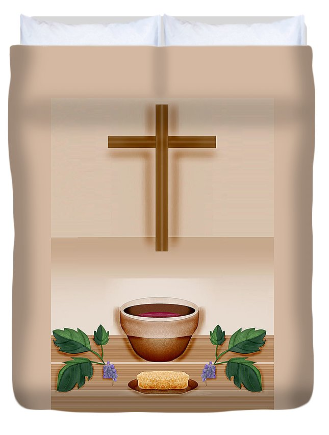 Holy Communion Duvet Cover featuring the painting Do This In Remembrance Of Me by Anne Norskog