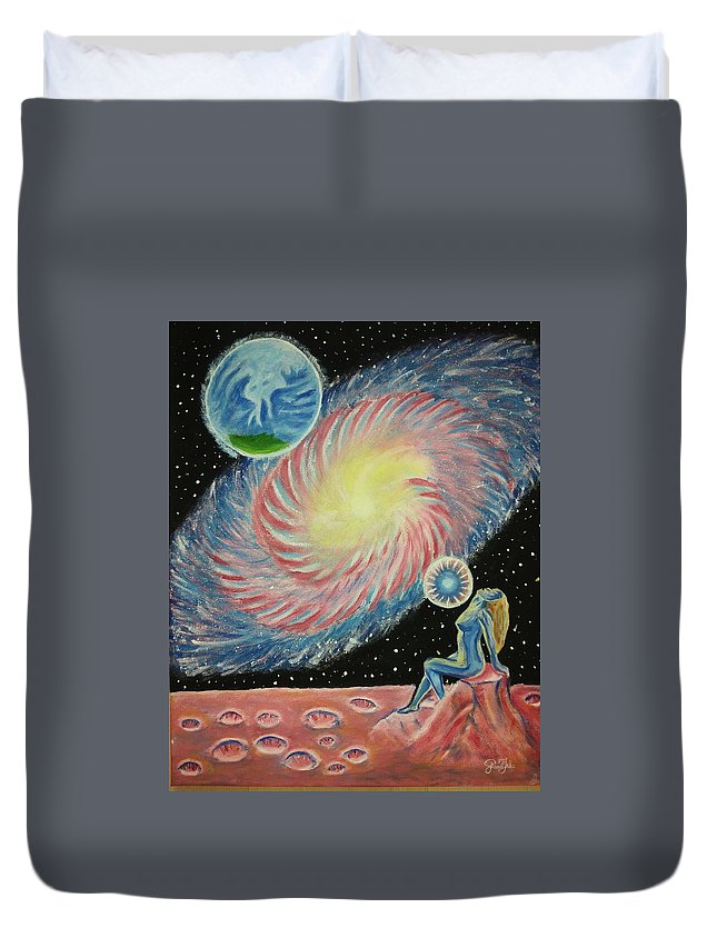 Universe Duvet Cover featuring the painting Do You Remember Who You Were Before Comming Here by Shkamb Jaka