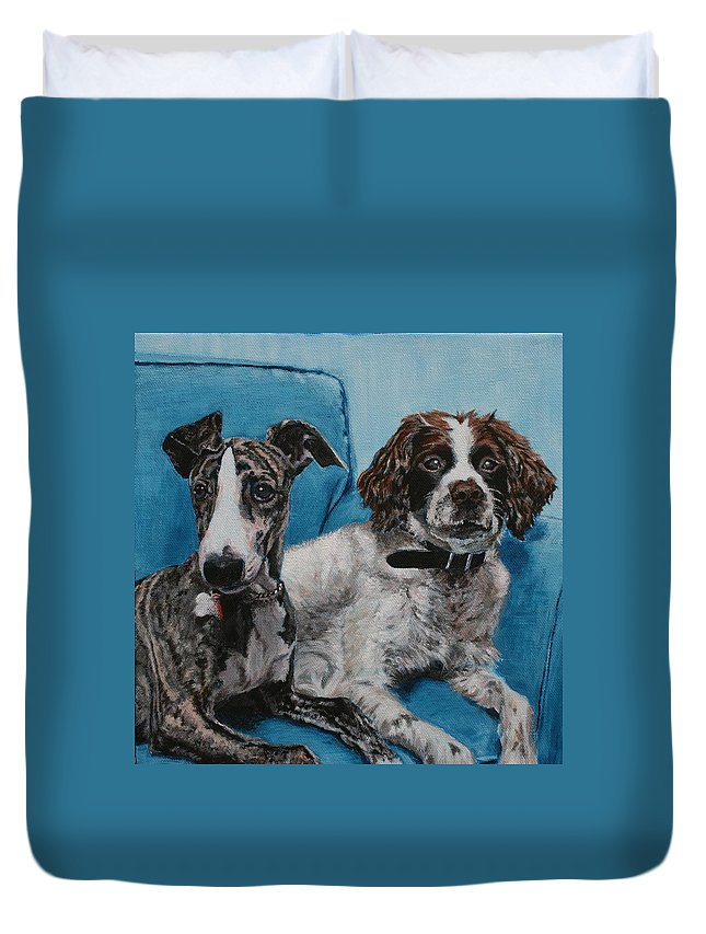Whippet Duvet Cover featuring the painting Dobby And Mocha by Wendy Whiteside