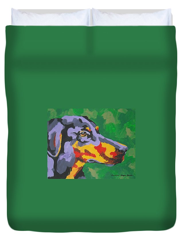 Dog Duvet Cover featuring the painting Doberman by Caroline Davis