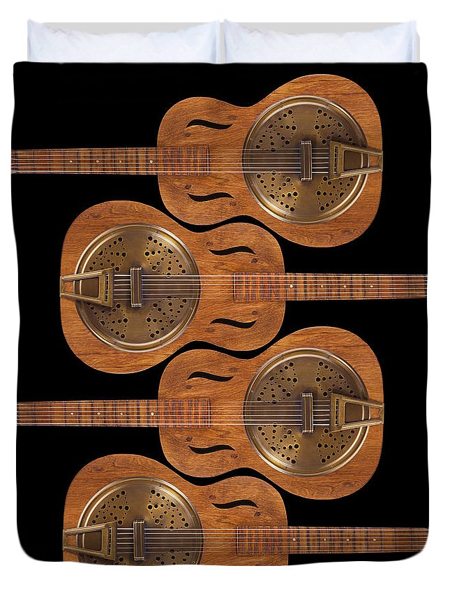 Guitar Duvet Cover featuring the photograph Dobro 5 by Mike McGlothlen