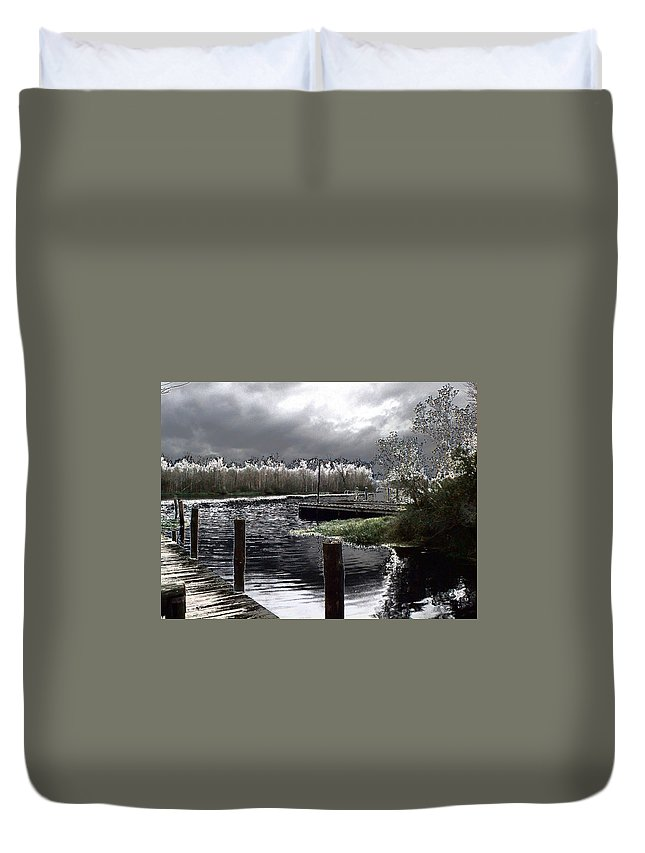 Dock Duvet Cover featuring the photograph Dock At Dusk by Charleen Treasures