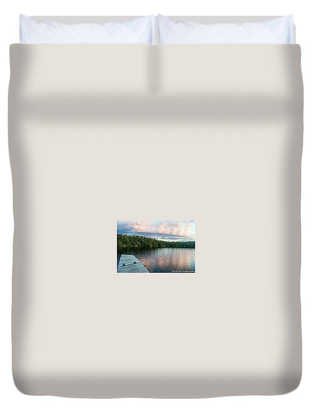 Lake Onaping Duvet Cover featuring the photograph Dock Of The Lake by Megan Miller