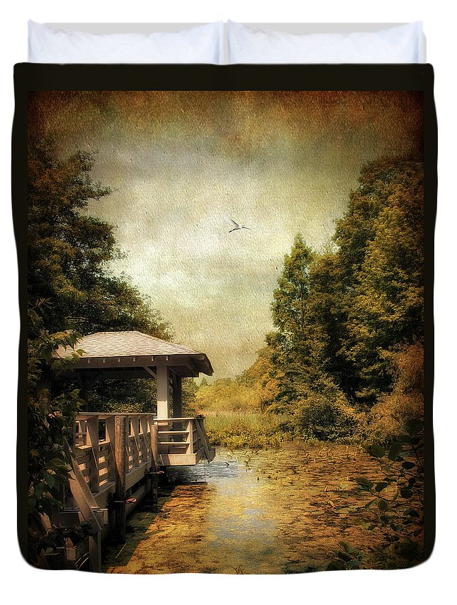Nature Duvet Cover featuring the photograph Dock On The Wetlands by Jessica Jenney