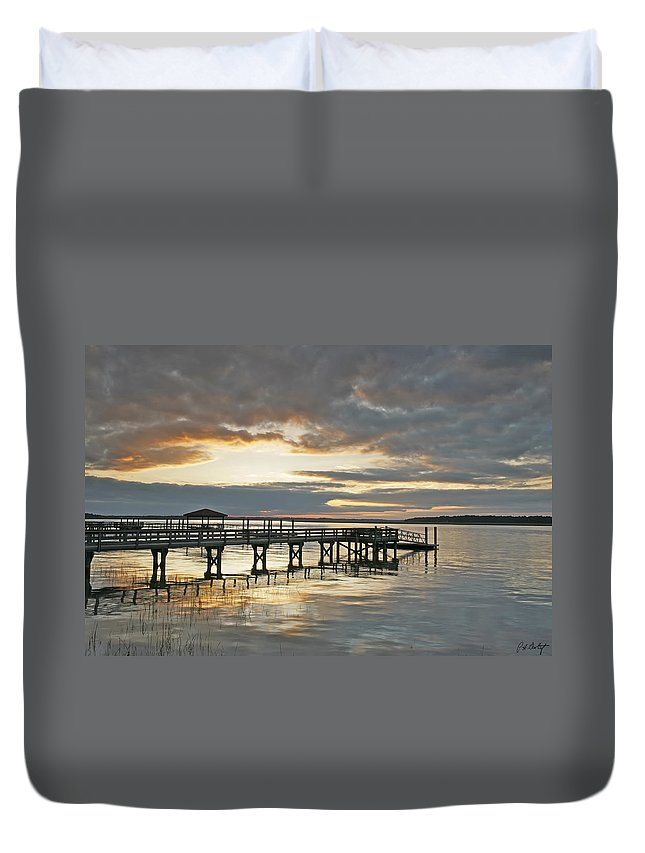 Sunset Duvet Cover featuring the photograph Dock Reflections by Phill Doherty