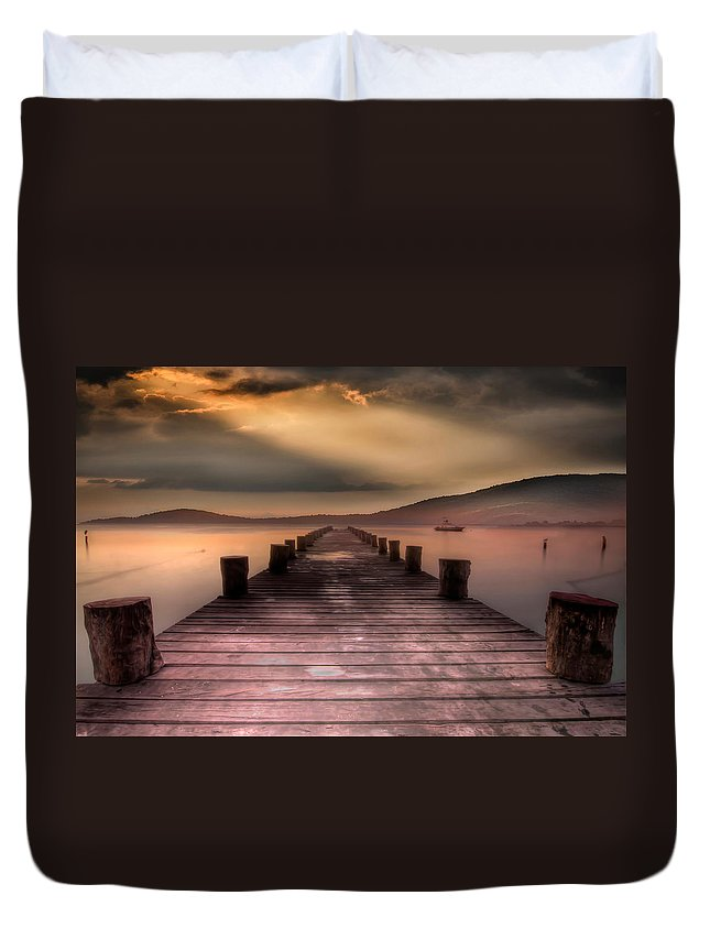 Sunrise Duvet Cover featuring the photograph Dock by Todd Wall