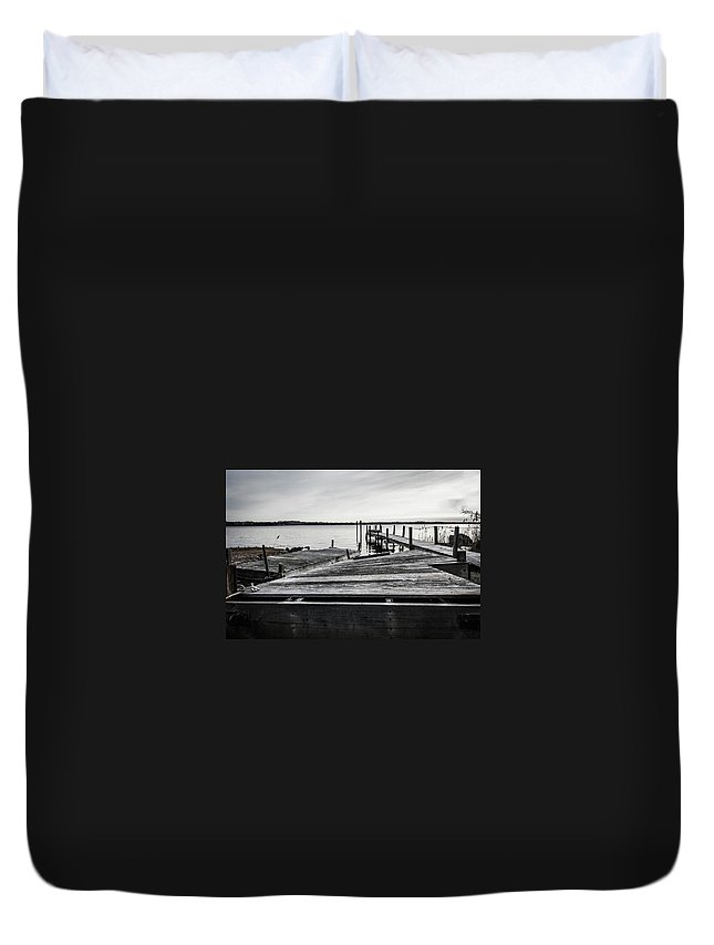 Dock Duvet Cover featuring the photograph Dockside by Mark Majndle