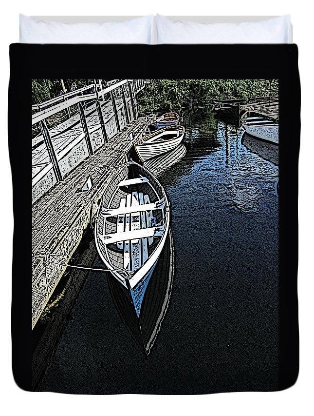 Dock Duvet Cover featuring the digital art Dockside Quietude by Tim Allen