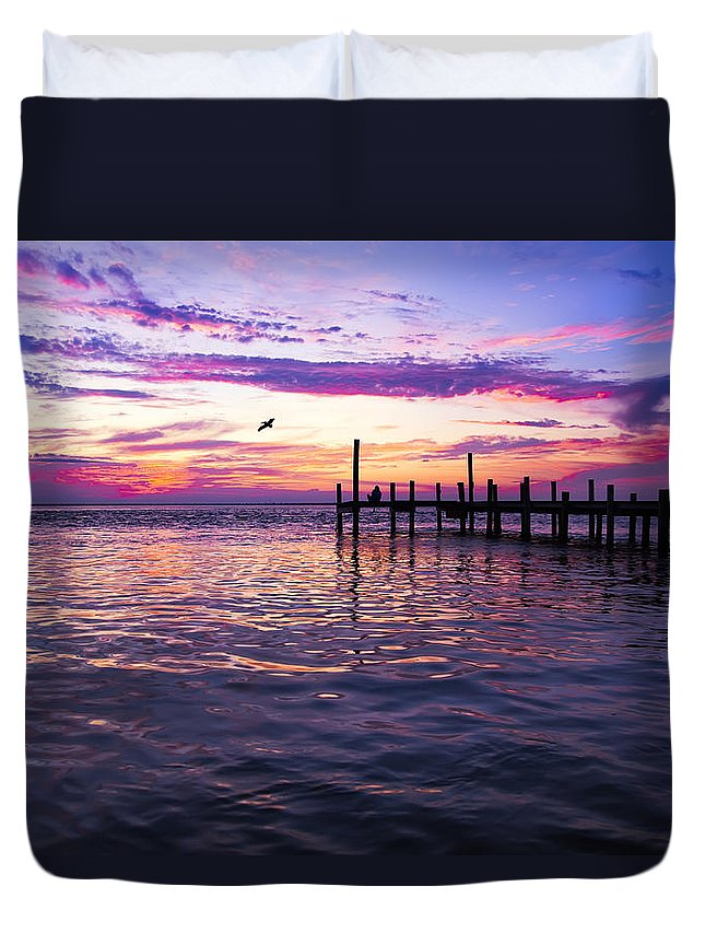 Dock Duvet Cover featuring the photograph Dockside Sunset by Janet Fikar