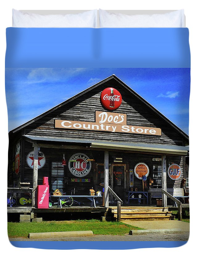 Doc's Duvet Cover featuring the photograph Doc's Country Store by Laura Ragland