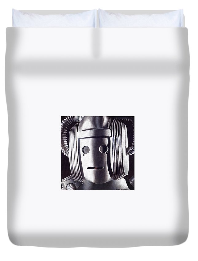 Doctor Who Duvet Cover featuring the painting Doctor Who - Cyberman On Voga by Marc D Lewis