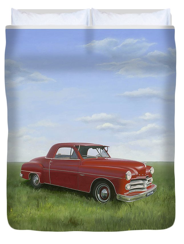 Classic Duvet Cover featuring the painting Dodge by Patricia Van Lubeck