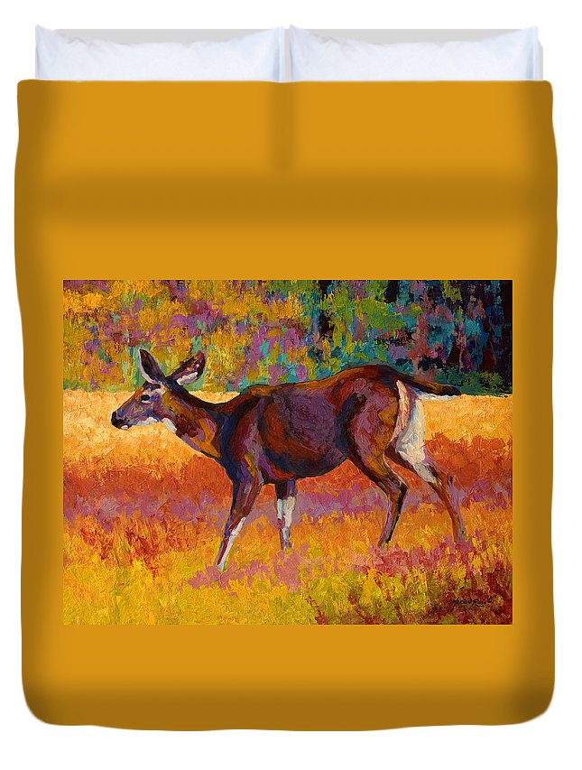 Deer Duvet Cover featuring the painting Doe IIi by Marion Rose