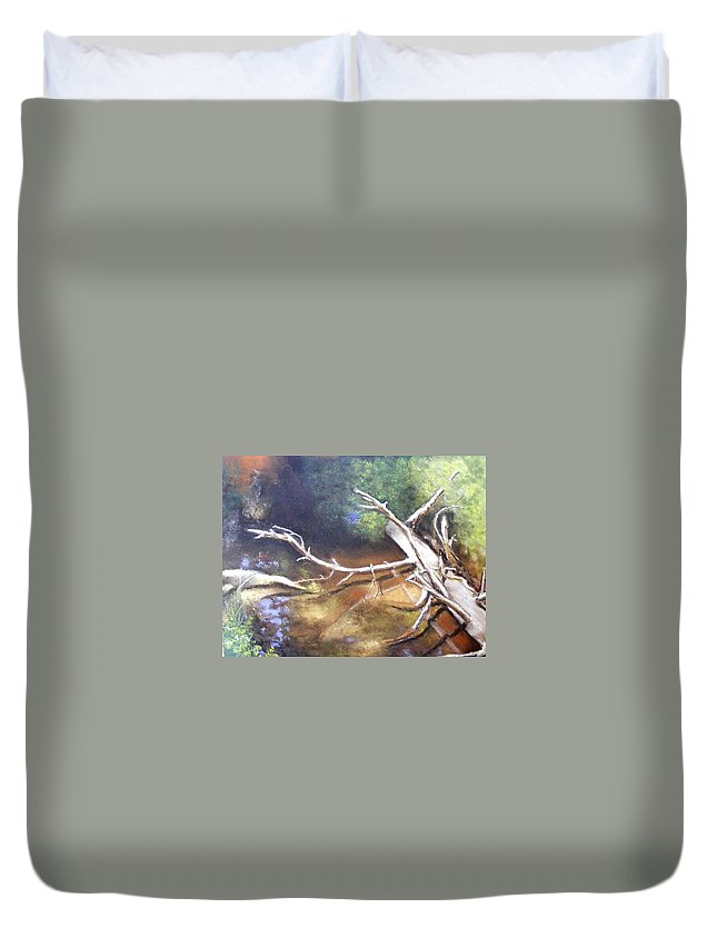 California Landscape Duvet Cover featuring the painting Does It Make A Sound by Darlene Jaeger