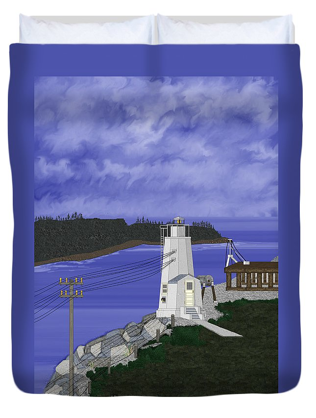 Lighthouse Duvet Cover featuring the painting Dofflemeyer Point Lighthouse At Boston Harbor by Anne Norskog