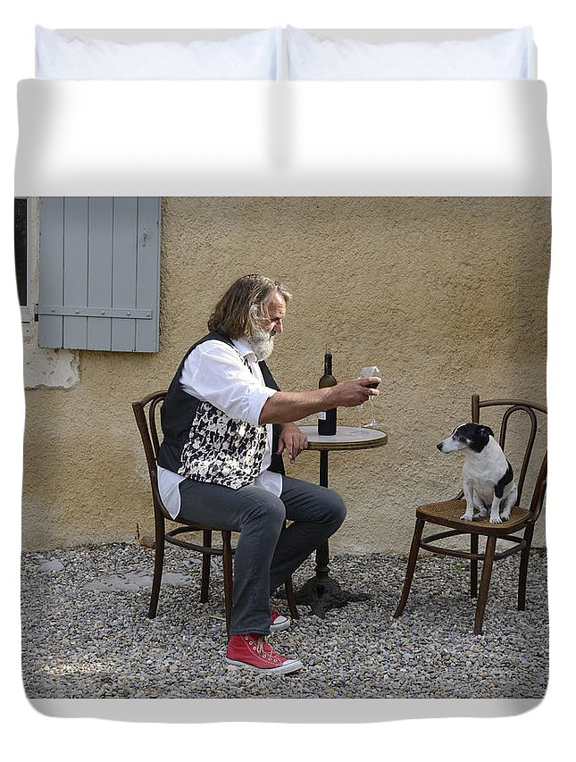 Europe Duvet Cover featuring the photograph Dog And Master by Christian Heeb