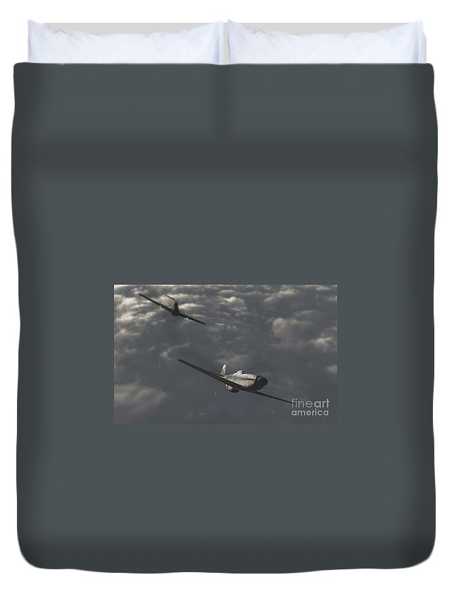 Ww2 Duvet Cover featuring the digital art Dog Fight by Richard Rizzo
