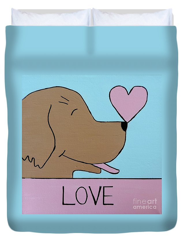 Dog Duvet Cover featuring the painting Dog Love by Sean Brushingham