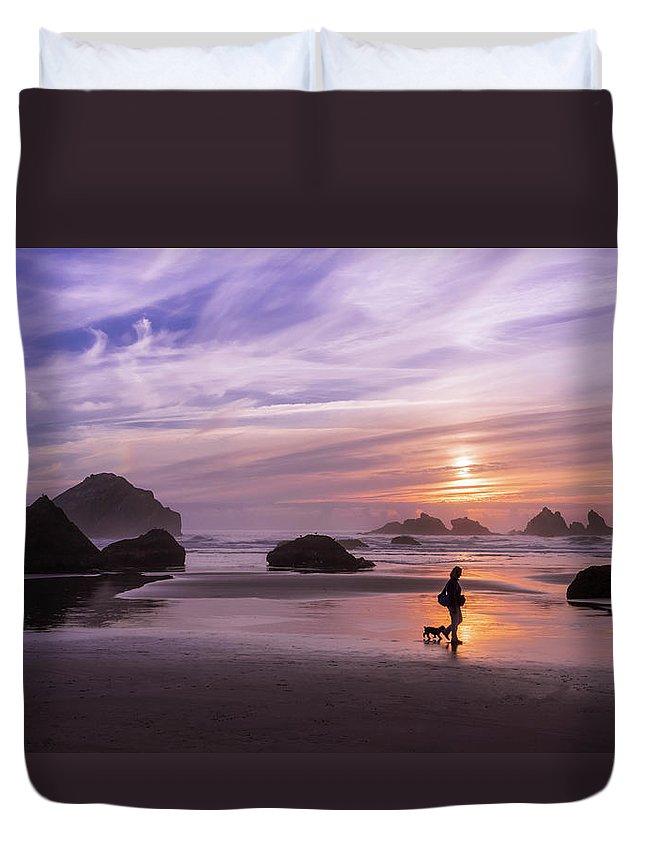 Beach Duvet Cover featuring the photograph Dog Walker by Steven Clark