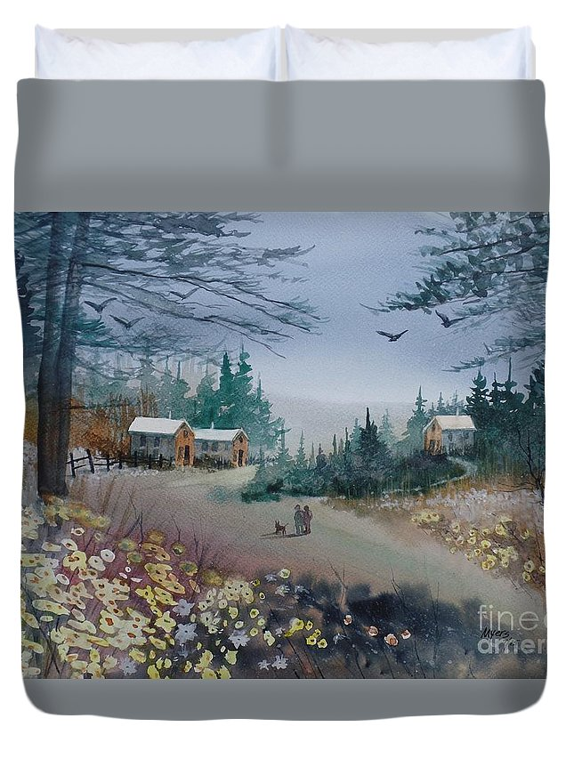 Original Duvet Cover featuring the painting Dog Walking, Watercolor Painting by David K Myers