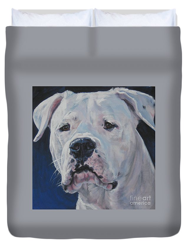 Dogo Argentino Duvet Cover featuring the painting Dogo Argentino by Lee Ann Shepard