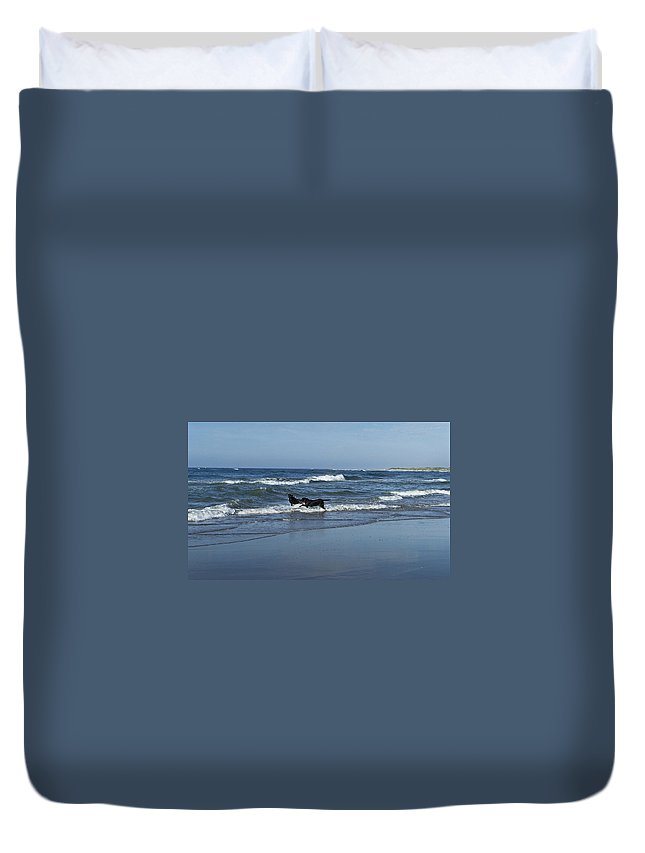 Dog Duvet Cover featuring the photograph Dogs In The Surf by Teresa Mucha