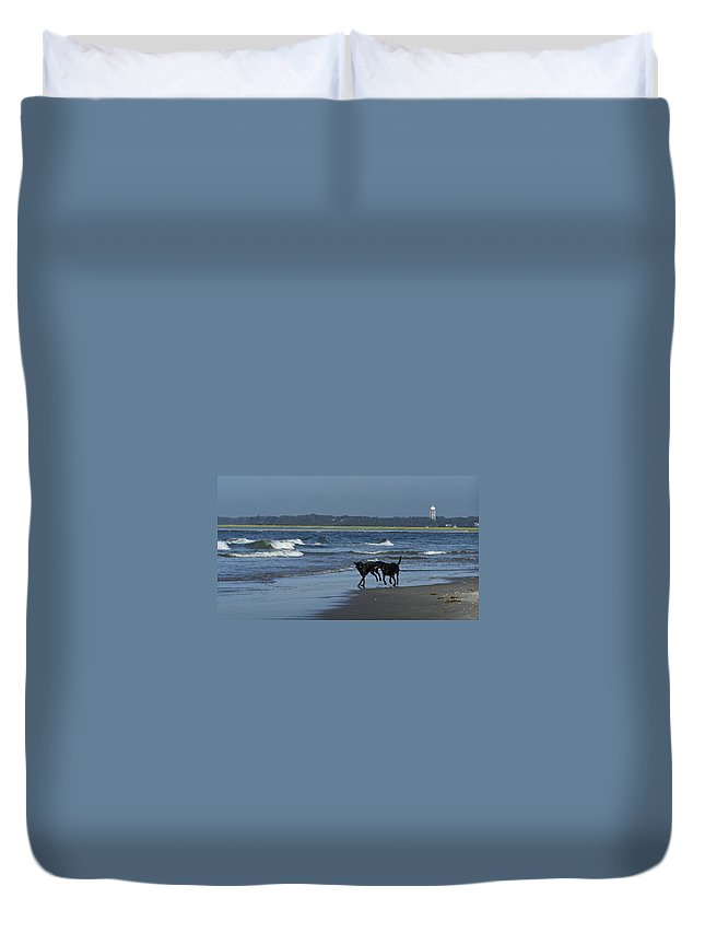 Dog Duvet Cover featuring the photograph Dogs On The Beach by Teresa Mucha