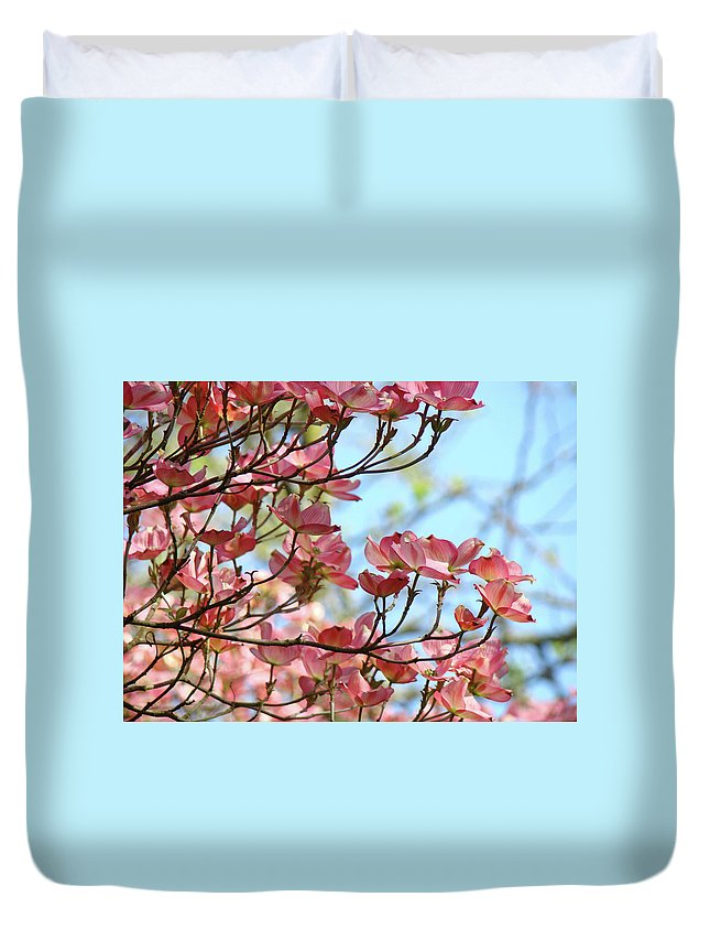 Dogwood Duvet Cover featuring the photograph Dogwood Flowering Trees Pink Dogwood Flowers Baslee Troutman by Baslee Troutman
