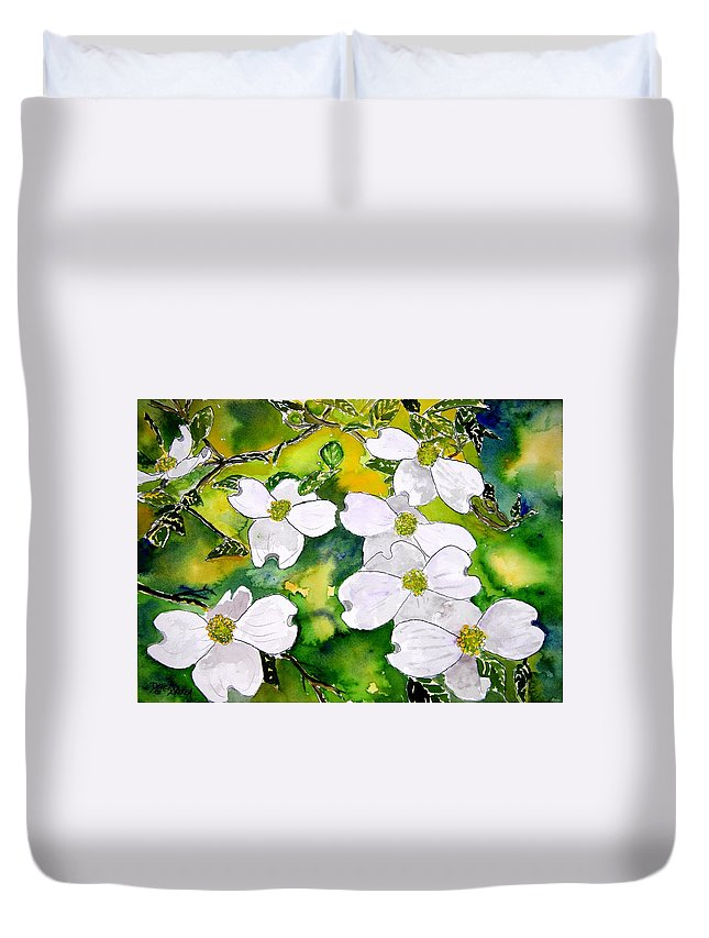Dogwood Duvet Cover featuring the painting Dogwood Tree Flowers by Derek Mccrea