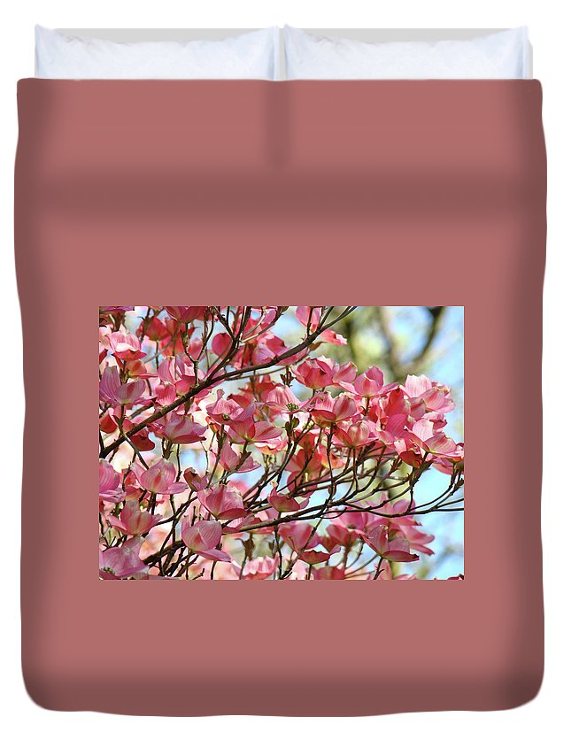 Dogwood Duvet Cover featuring the photograph Dogwood Tree Landscape Art Prints Blue Sky Baslee Troutman by Baslee Troutman