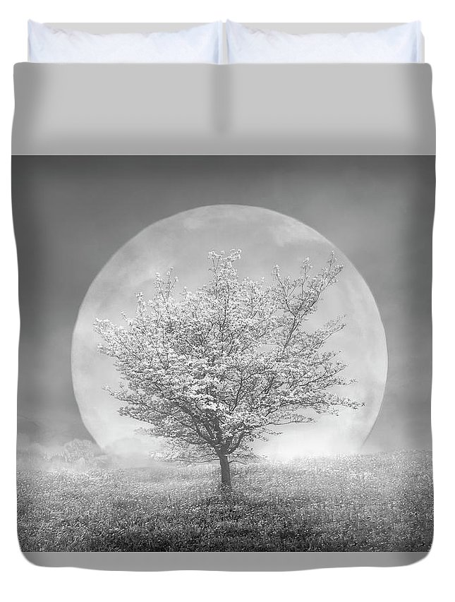 Appalachia Duvet Cover featuring the photograph Dogwoods In The Moon Black And White by Debra and Dave Vanderlaan