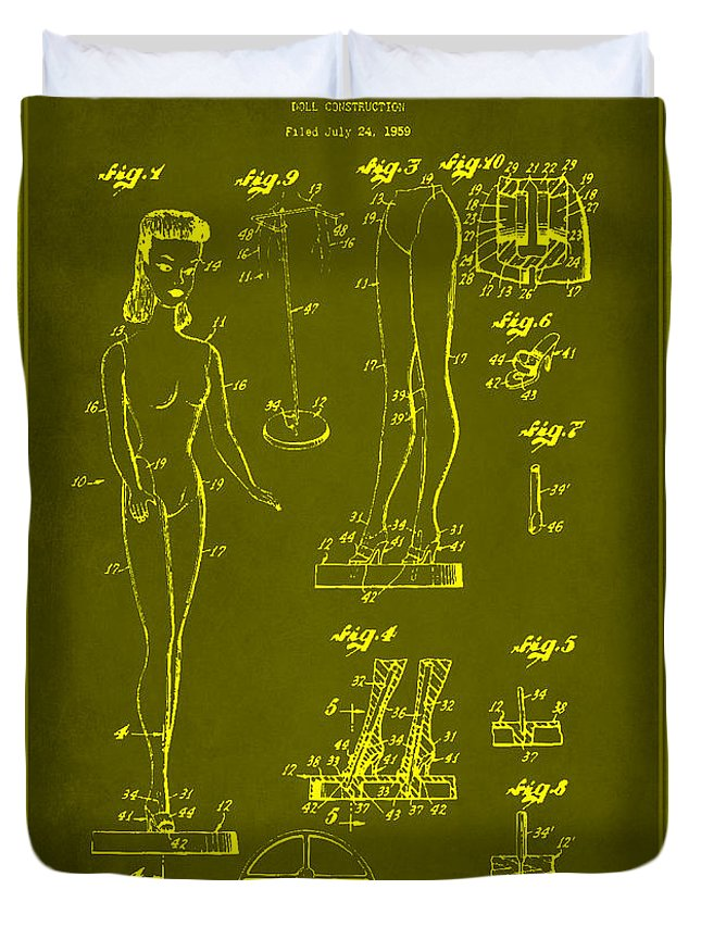 Patent Duvet Cover featuring the mixed media Doll Construction Patent Drawing 1d by Brian Reaves