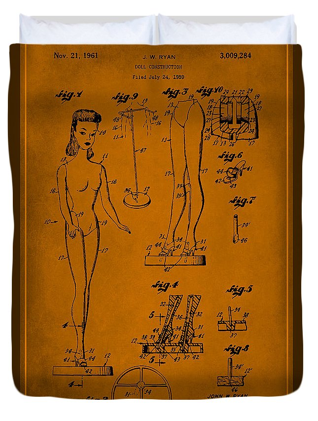 Patent Duvet Cover featuring the mixed media Doll Construction Patent Drawing 1f by Brian Reaves