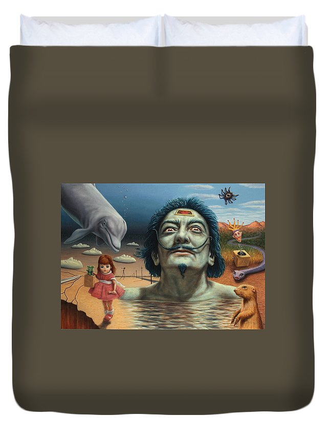 Dali Duvet Cover featuring the painting Dolly In Dali-land by James W Johnson