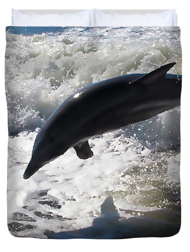 Dolphin Duvet Cover featuring the photograph Dolphin Jump by Bibi Rojas