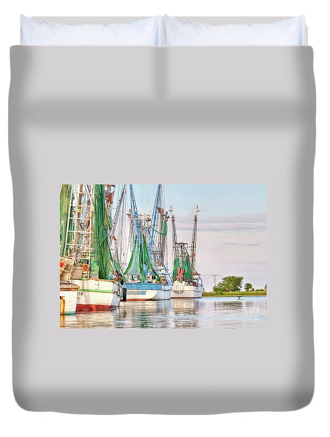 Dolphin Duvet Cover featuring the photograph Dolphin Tail - Docked Shrimp Boats by Scott Hansen
